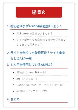 カスタマイズ後のスマホ目次(Table of Contents Plus)